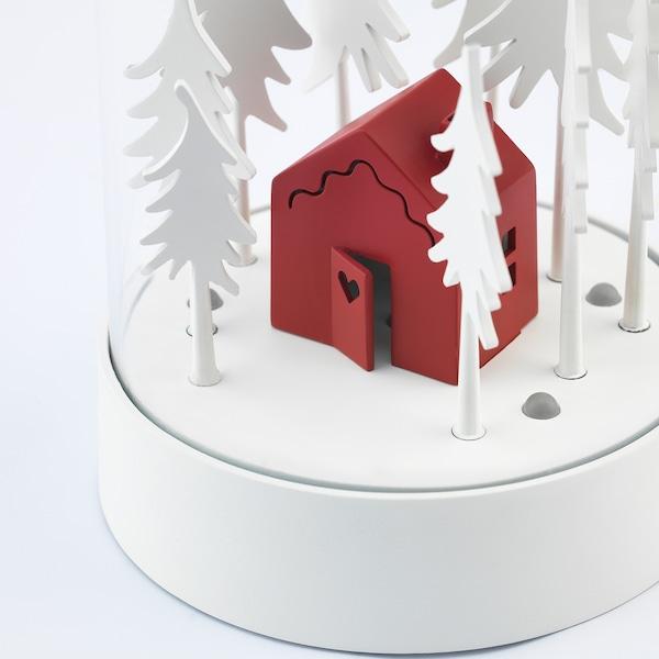 STRÅLA Décoration de table à LED, cabane dans la forêt rouge/blanc