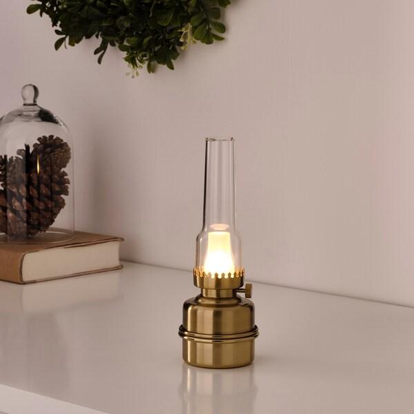 STRÅLA Lampe de table à LED, à pile/couleur laiton