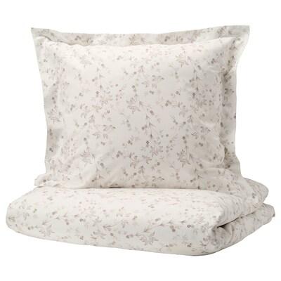 STRANDFRÄNE Housse de couette et taie, blanc/beige clair, 150x200/65x65 cm