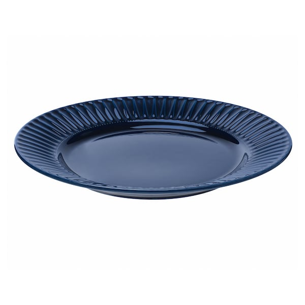 STRIMMIG Assiette, faïence bleu, 27 cm