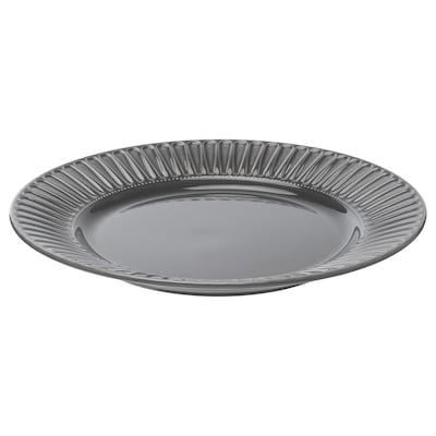 STRIMMIG Assiette, faïence gris, 27 cm