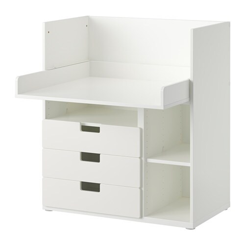 stuva bureau 3 tir blanc ikea. Black Bedroom Furniture Sets. Home Design Ideas