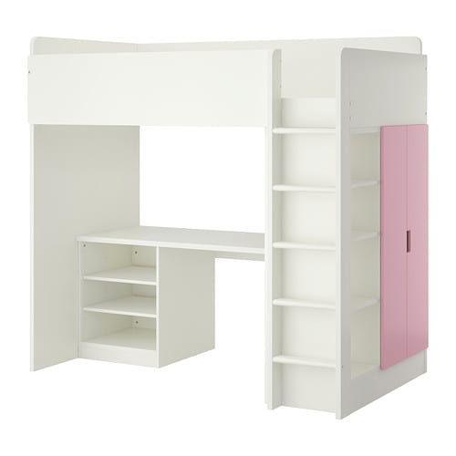 stuva combi lit mezz 2 tabl 2ptes blanc rose ikea. Black Bedroom Furniture Sets. Home Design Ideas