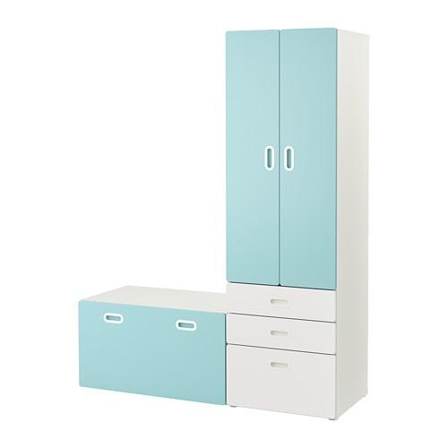 STUVA / FRITIDS Armoire avec banc de rangement - blanc/bleu clair - IKEA
