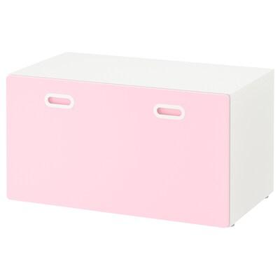 STUVA / FRITIDS Banc avec rangement jouets, blanc/rose clair, 90x50x50 cm