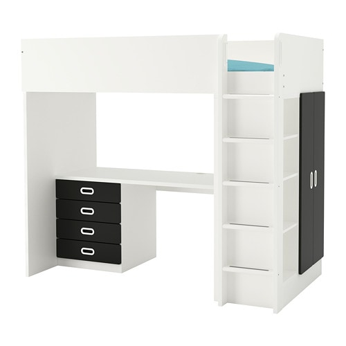 stuva fritids combi lit mezz 4 tir 2 ptes blanc. Black Bedroom Furniture Sets. Home Design Ideas