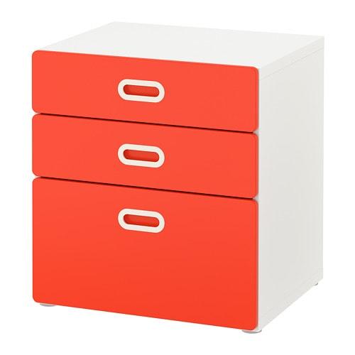 STUVA   FRITIDS Commode 3 tiroirs - blanc rouge - IKEA 6c3d71d761a