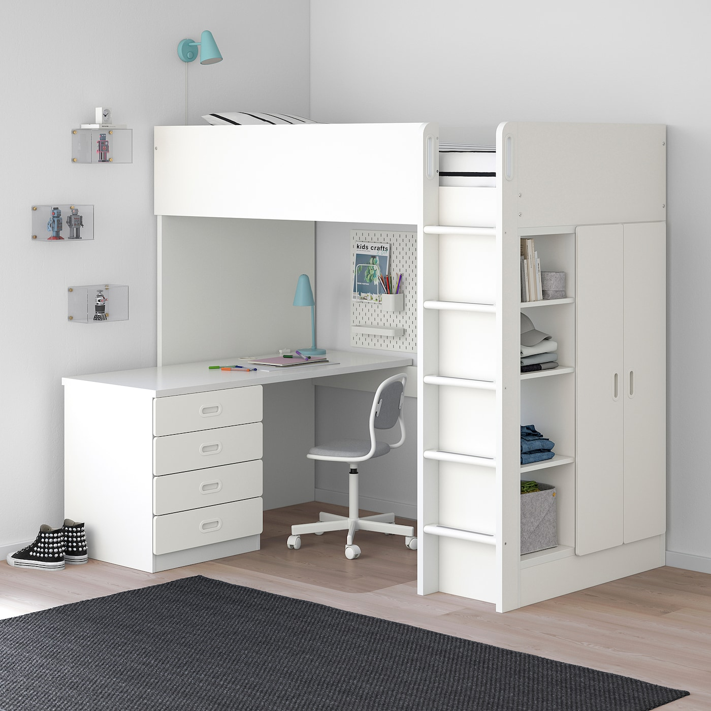 Chambre Garcon 2 Ans Ikea stuva / fritids combi lit mezz+4 tir/2 ptes - blanc, blanc 207x99x182 cm