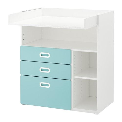 STUVA   FRITIDS Table à langer+tiroirs - blanc bleu clair - IKEA f6269739333
