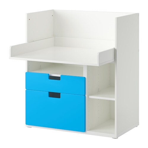 stuva table enfant 2 tir blanc bleu ikea. Black Bedroom Furniture Sets. Home Design Ideas
