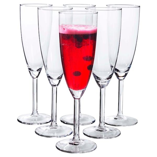 SVALKA flûte à champagne verre transparent 22 cm 21 cl 6 pièces