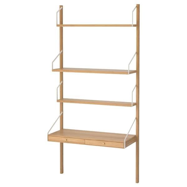 Svalnas Combinaison De Bureau Murale Bambou 86x35x176 Cm Ikea