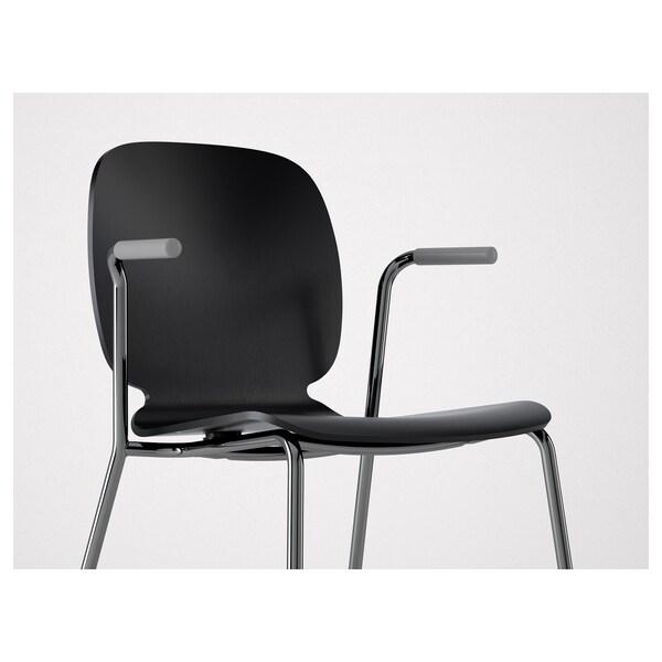 SVENBERTIL Chaise à accoudoirs, noir/Dietmar chromé