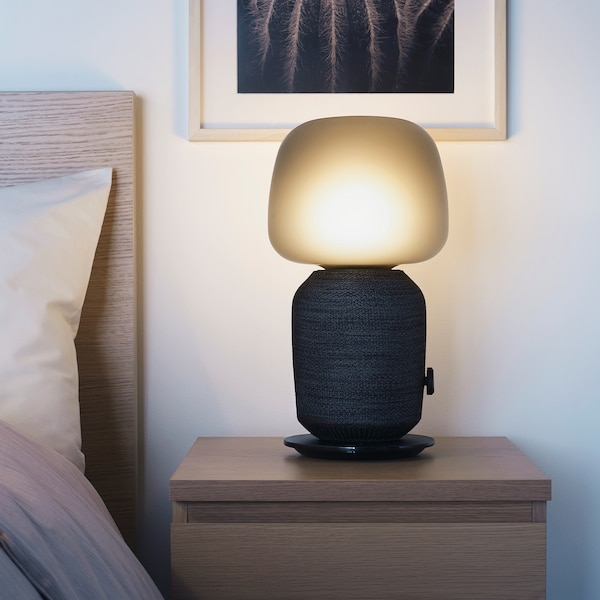 SYMFONISK Enceinte WiFi lampe de table, noir
