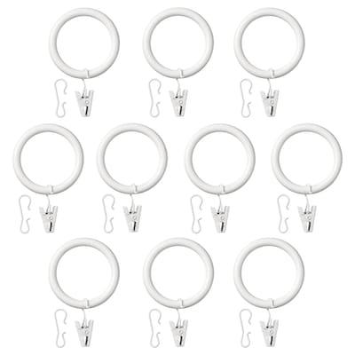 SYRLIG Anneau rideau+clip+crochet, blanc, 38 mm