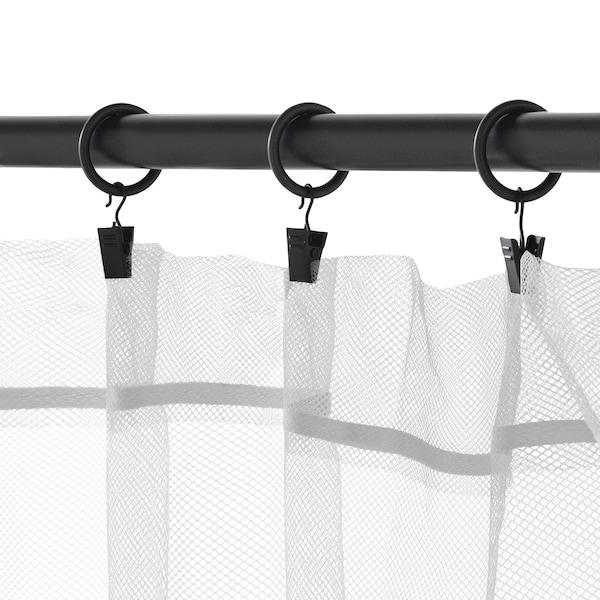SYRLIG Anneau rideau+clip+crochet, noir, 25 mm