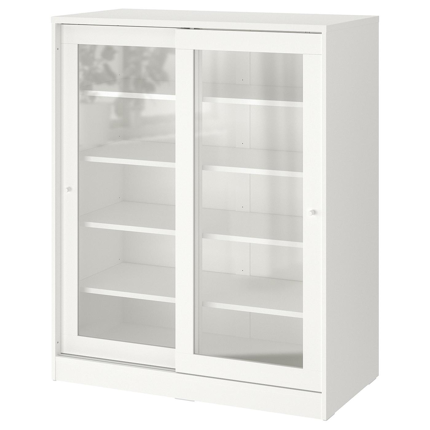 Syvde Rangement Avec Portes En Verre Blanc Ikea