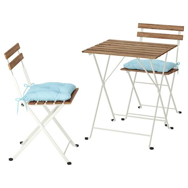 TÄRNÖ Table+2 chaises, extérieur, teinté blanc/brun clair/Kuddarna bleu clair