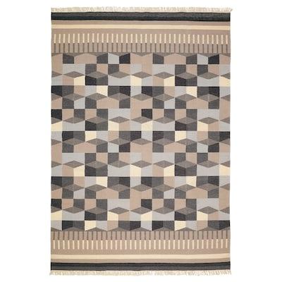 TÅRBÄK Tapis tissé à plat, fait main/gris/beige, 170x240 cm