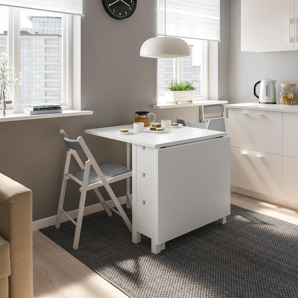 TERJE Chaise pliante, blanc/Knisa gris clair