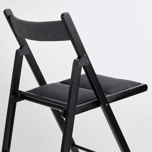 TERJE Chaise pliante, noir/Knisa gris foncé
