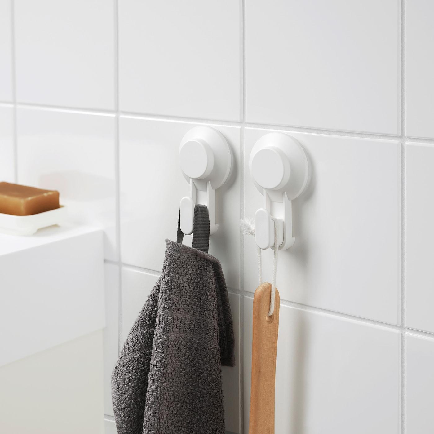 IKEA tisken crochet avec ventouse; en blanc; 2 pièces Serviette Crochet