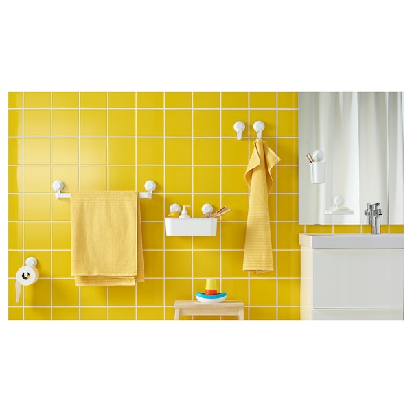 TISKEN Porte-serviette à ventouse, blanc