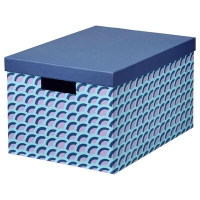 TJENA Boîte de rangement avec couvercle, bleu/multicolore, 25x35x20 cm