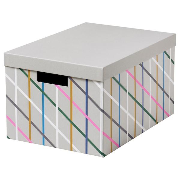 Tjena Boite De Rangement Avec Couvercle Gris Multicolore Carton Ikea