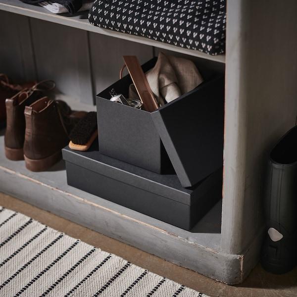 TJENA Boîte de rangement avec couvercle, noir, 18x25x15 cm - IKEA