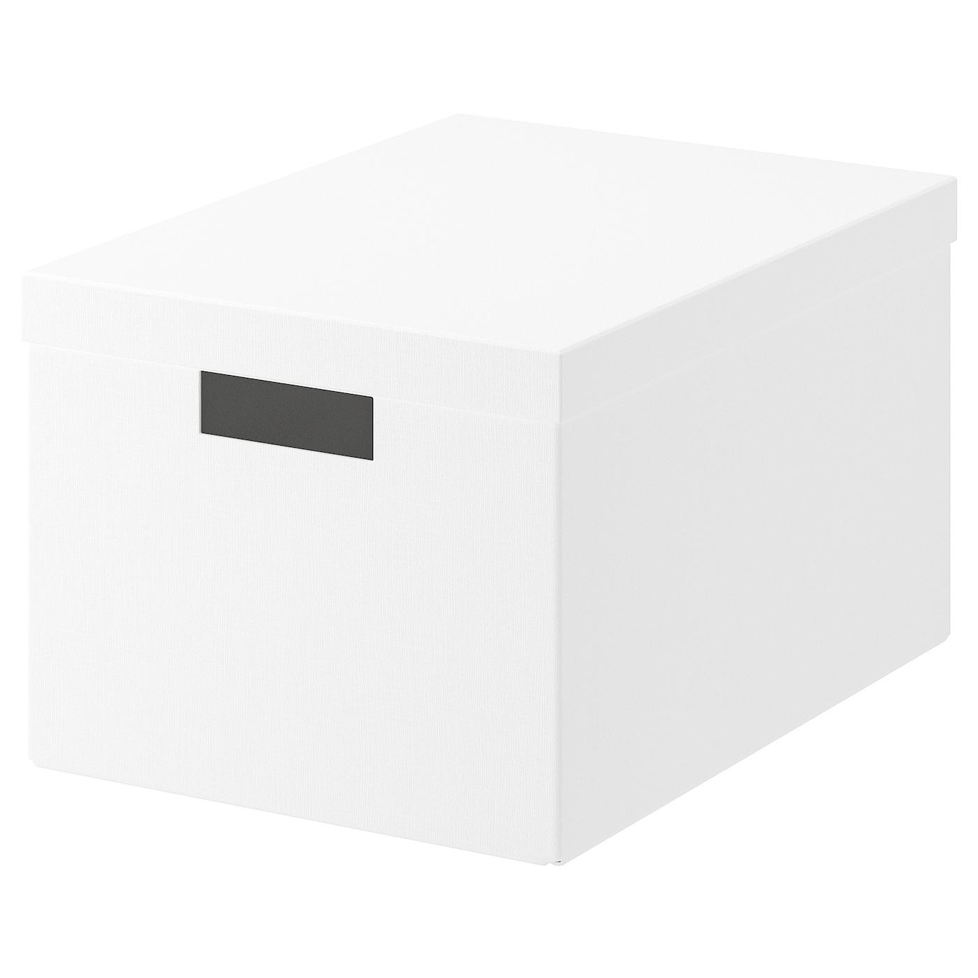 TJENA Boîte de rangement avec couvercle - blanc 16x16x16 cm