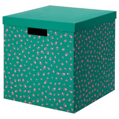 TJENA boîte de rangement avec couvercle vert à pois 30 cm 30 cm 30 cm