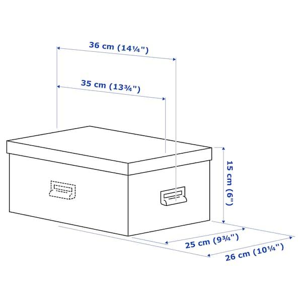 TJOG Boîte de rangement avec couvercle, gris foncé, 25x36x15 cm
