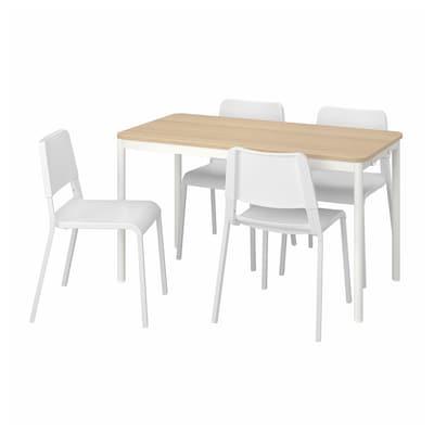 TOMMARYD / TEODORES Table et 4 chaises, chêne blanc/blanc, 130x70 cm