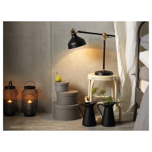 TOPPIG Lanterne pour bougie bloc, noir, 36 cm