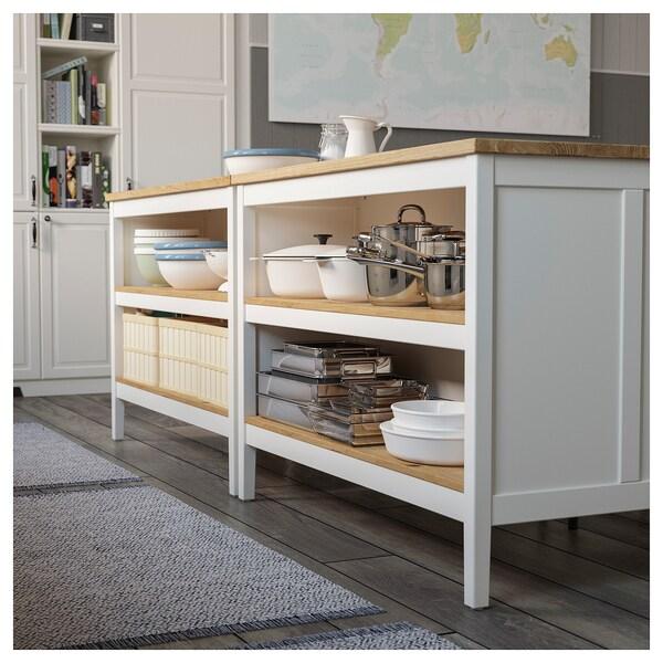 TORNVIKEN îlot pour cuisine blanc cassé/chêne 126 cm 77 cm 90 cm