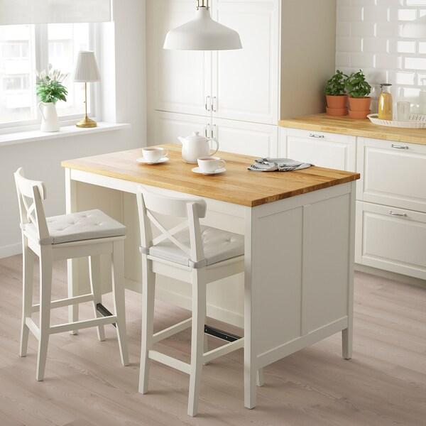 TORNVIKEN Îlot pour cuisine, blanc cassé, chêne, 126x77 cm