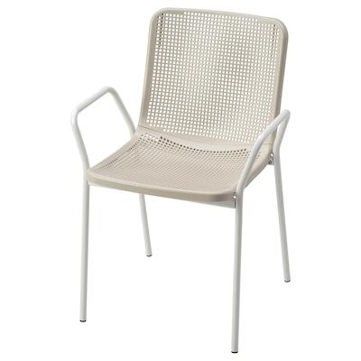 TORPARÖ Chaise à accoudoirs, int/extérieur, blanc/beige