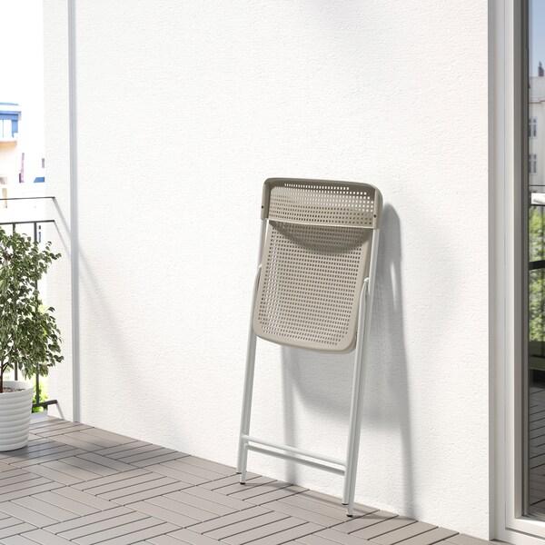 TORPARÖ Chaise, intérieur/extérieur, pliable blanc/beige