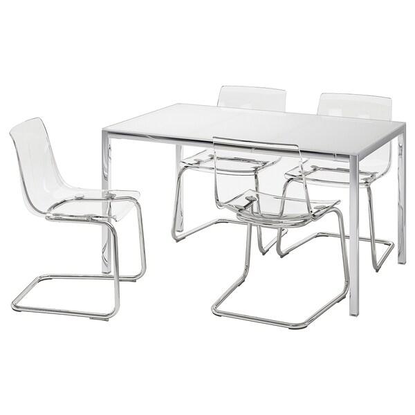 Torsby Tobias Table Et 4 Chaises Verre Blanc Transparent Ikea