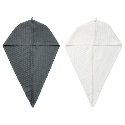 TRÄTTEN Serviette pour cheveux, gris foncé/blanc