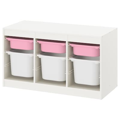TROFAST Combi rangement+boîtes, blanc rose/blanc, 99x44x56 cm