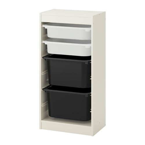 trofast combi rangement bo tes blanc blanc noir ikea. Black Bedroom Furniture Sets. Home Design Ideas