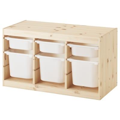 TROFAST Combi rangement+boîtes, pin teinté blanc clair/blanc, 94x44x52 cm