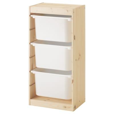 TROFAST Combi rangement+boîtes, pin teinté blanc clair/blanc, 44x30x91 cm