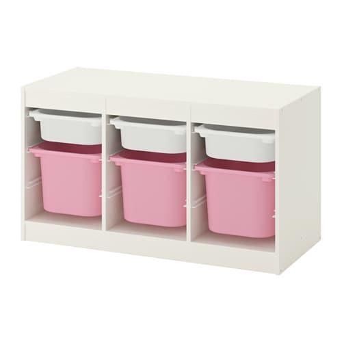 TROFAST Combi rangement+boîtes - blanc/rose - IKEA
