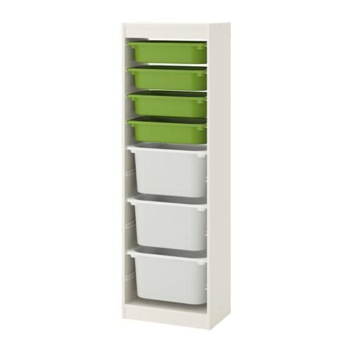 TROFAST Combi rangement+boîtes - blanc/vert blanc - IKEA