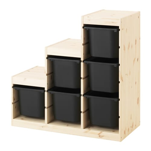trofast combinaison de rangement pin teint blanc clair noir ikea. Black Bedroom Furniture Sets. Home Design Ideas