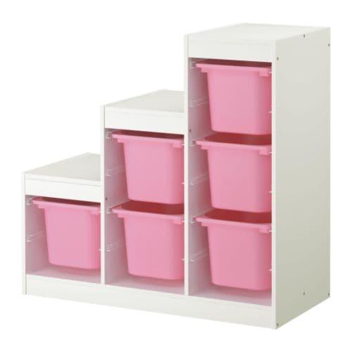 Trofast combinaison de rangement blanc rose ikea - Meuble de rangement jouet ...