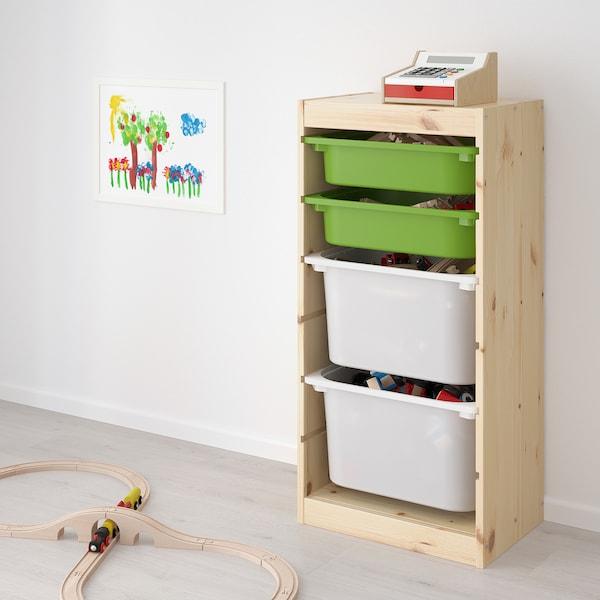 TROFAST combi rangement+boîtes pin teinté blanc clair vert/blanc 44 cm 30 cm 91 cm